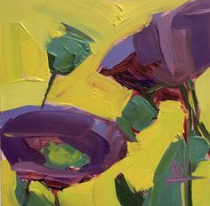 Purple Poppies no. 2 Original Oil Painting by Angela Moulton 4 x 4 inch