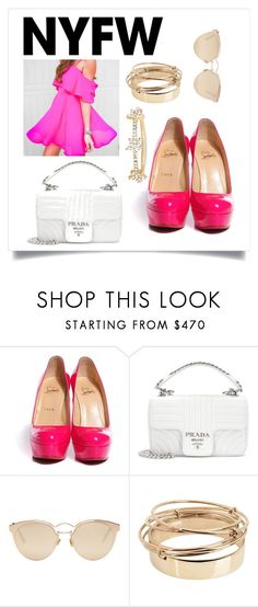 """NYFW:pink pumps!"" by sofiafashionista ❤ liked on Polyvore featuring Christian Louboutin, Prada, Christian Dior, Valentino, EF Collection, contestentry and NYFWHotPink"