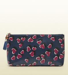 Gucci ハートビートプリントレザーポーチ / heart print make up bag on ShopStyle