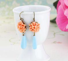 Little Flower Earrings - Coral Flower - Blue Glass Bead - Sweet Floral Earrings -$20.00 Etsy