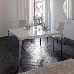 Stainless steel table and white wood mod. Capri, Cattelan. // Mesa de acero inoxidable y madera blanca mod. Capri, Cattelan. // Tavolo in acciaio inox e legno bianco mod. Capri, Cattelan. #table #mesa #tavolo #steel #aceroinoxidable #acciaioinox #wood #madera #legno #cattelan