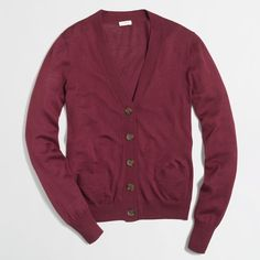J.Crew Factory university cardigan sweater ($40) ❤ liked on Polyvore featuring tops, cardigans, tops/outerwear, long sleeve cardigan, long sleeve tops, purple top, j crew top and purple cardigan