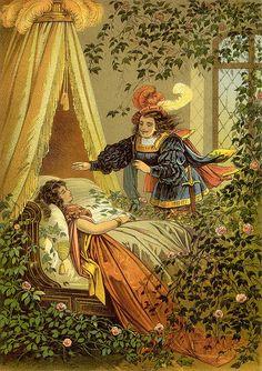 """Sleeping beauty"" - vintage illustration ."