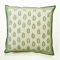 Hand Block Printed Cushion Cover 60x60cm in Green Spruce Design