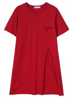 Women Short Sleeve Pure Color Side Split Pocket Long T-shirt
