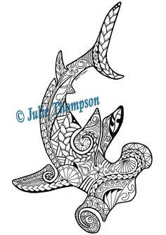 Tribal  Hammerhead Shark hand-drawn printable coloring page