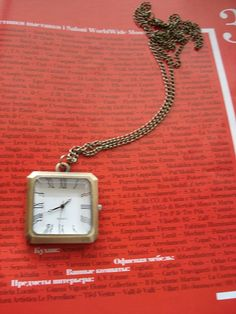 Necklace Pendant Pocket Watch quartz Gift Chain by Azuraccessories, $9.55...this could go on a Charm necklace!  great price too!