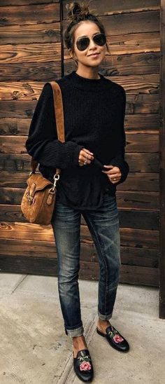#fall #outfits women's black long-sleeved shirt, blue-washed jeans, pair of black leather slip-on shoes outfit