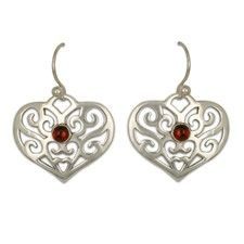 Collette s Heart Earrings with Gem in Sterling Silver