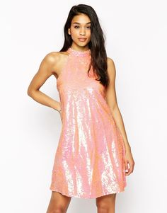 Image 1 ofClub L High Neck Swing Dress In Sequins