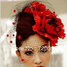 Free shipping!2013 New Bridal Birdcage black Veil, Party Headdress,red flower veil ,Wedding Accessory $17.54