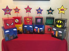 Breakfast ideas birthday party ideas for 2019 Avengers Party Decorations, Superhero Centerpiece, Birthday Party Centerpieces, Super Hero Decorations, Centerpiece Decorations, Party Favors, Avengers Birthday, Batman Birthday, Superhero Birthday Party