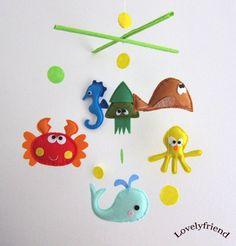 Baby Crib Mobile - Baby Mobile - Felt Mobile - Nursery mobile - Sea And Ocean Theme (Custom Color Available) Baby Crafts, Felt Crafts, Crafts For Kids, Baby Mobile Felt, Baby Crib Mobile, Hanging Mobile, Mobile Mobile, Mobile Shop, Felt Toys