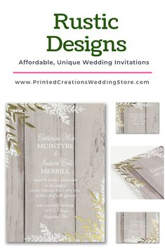 Rustic Beauty Invitation - Perfect for a barn or rustic wedding with its wood background and greenery accents.  Don't forget the charming stationery pieces to match.  Shop this and many more rustic wedding invitations at www.PrintedCreationsWeddingStore.com.  #rusticwedding  #rusticweddinginvitations  #rusticweddinginvites  #rusticinvites  #rusticinvitations  #rusticinvitationswedding  #weddinginvitations  #invitationswedding #weddinginvites #inviteswedding #barnwedding #countrywedding