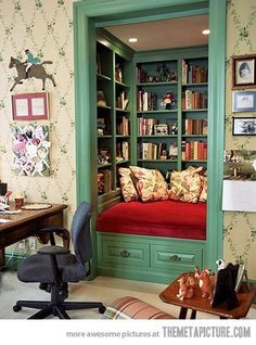 Great idea for converting closet to reading nook!