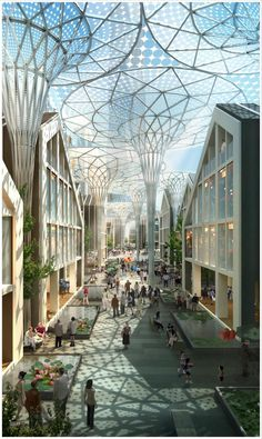 """3E Architectural Rendering - I like the """"solar umbrellas"""" depicted here. It's (past) time to adopt distributed renewable energy and get off of coal."""