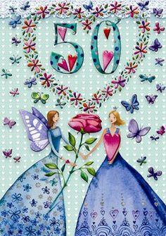 3284 | Cercando Armonie Happy 50th Birthday, Art Birthday, Birthday Greetings, Birthday Wishes, Birthday Cards, Marquis, Sweet Corner, Cute Drawings, Beautiful Pictures