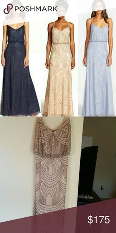 Adrianna Papell beaded blouson gown New never worn. Tags still on it. Color taupe/pink Adrianna Papell Dresses Maxi