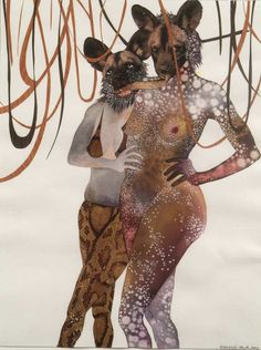 Kenyan-born, Brooklyn-based artist Wangechi Mutu's collages ebb and flow with beauty and horror. She cobbles together images of monstrous temptresses from sources as disparate as original pai… Kenyan Artists, African Artists, Art Du Collage, Kunst Online, Inspiration Art, Art Inspo, Museum Of Contemporary Art, Contemporary Design, Mixed Media Art