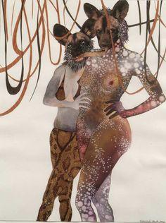 "Wangechi Mutu, ""Intertwined"", 2003, collage and watercolor on paper"