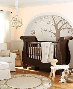 Baby Nursery. Cool Baby Nursery Painting Ideas With The Nice Designs Like In This Picture: Simple Picture Designs Nice Brown Color Flooring Good Nice Baby Room Brown Color Wooden Hanging Lamps Good Planting Wallpaper ~ Bucga \u263a  \u263a