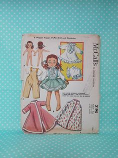 "Vintage Doll Pattern. McCall's 2195. 8"" Soft Body Doll Pattern 1957. Sold.  UnCut, Factory Folded. Cheap Vintage Pattern. Cheap Shipping"