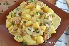Patatas a la carbonara muy fáciles - Cocinera y Madre Mexican Food Recipes, Ethnic Recipes, Sin Gluten, Vegan Vegetarian, Tapas, Easy Meals, Veggies, Appetizers, Food And Drink