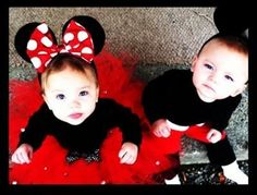 Minnie Mouse and Mickey Mouse Costumes for Twins by eloise