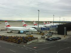 Austrian Airlines planes at Vienna Airport