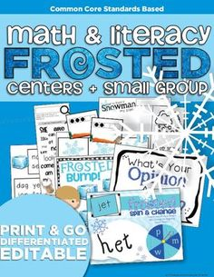 FROSTED - Frozen, Winter Learning | Differentiated - Bring the frozen winter to life in your classroom through FUN reading and math games, activities and an adorable craftivity! JAM PACKED 190+ PAGES.  A GIVEAWAY promotion for Frosted Math and Literacy | Centers and Small Group Materials | Differentiated from KindergartenWorks on TeachersNotebook.com (ends on 12-4-2014)