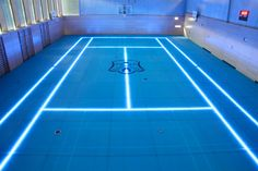 Glass gym floor with adjustable LED marking lines - no more confusing lines for multiple games - Imgur