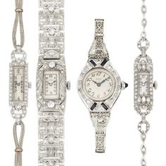 Four Lady's Platinum, White Gold and Gold-Filled Wristwatches  18 kt., mechanical, quartz, diamonds ap. 2.50 cts., ap. 46 dwts. gross. Lengths 5 1/2 & 5 3/4 inches. Art Deco or Art Deco style.