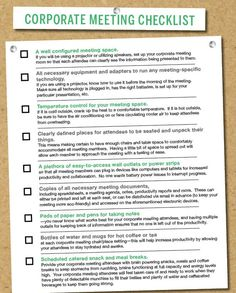 Great #checklist to help plan for a corporate meeting! #planning #business #TipTuesday