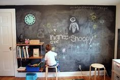 Chalk board walls are so fun.  Pastels show up best.  I have started using chalk board markers because of the dust the pastels and chalks produce.  Chalk board markers are also easier clean up.  The outlet location would not be suitable for a classroom.  This young artist loves his wall.
