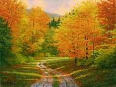 Oil painting by Charles White, 'Autumn Walk'