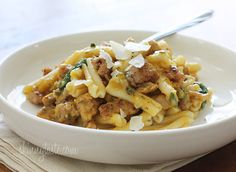 Spicy chicken sausage is the perfect compliment to this creamy pasta dish made with butternut squash, baby spinach, parmesan and a touch of sage.