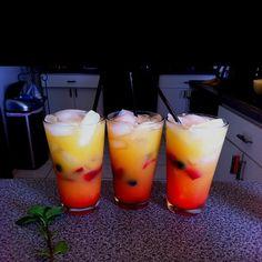 Summer Sunrise. Ingredients & Measurements: 1 oz. Parrot Bay Passion Fruit 1/2 oz. Peach Schnapps 3 oz. Orange Juice 3 oz. Pineapple Juice Grenadine