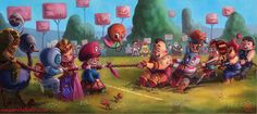It's hard to tell who'd win this video game tug of war in digital artist Patrick Ballesteros' drawin