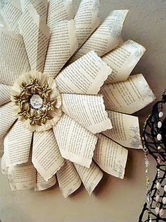 Shabby Chic Book Page Wreath Dollar Store Craft DIY Tutorial http://alyssabeth1.blogspot.com/2011/12/shabby-chic-joy-to-world-book-page.html
