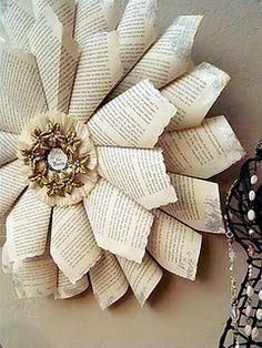 Shabby Chic Book Page Wreath Dollar Store Craft DIY Tutorial http://alyssabeth1.blogspot.com/2011/12/shabby-chic-joy-to-world-book-page.html