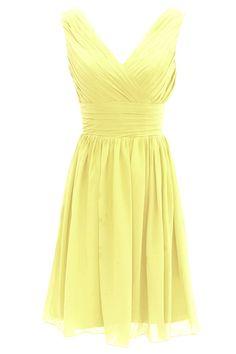 Ouman Short Bridesmaid Dress Chiffon Party Evening Dress X-Large Yellow