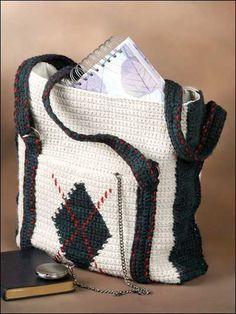 Argyle Crochet Tote Bag Pattern