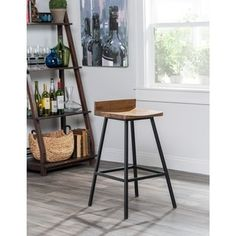 Kosas Home Handcrafted Pennie Mahogany Mango and Black Iron Counter Stool - 17857709 - Overstock.com Shopping - Great Deals on Kosas Collections Bar Stools