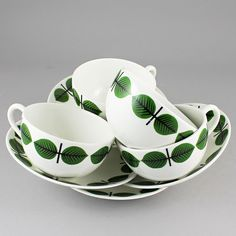 Stig Lindberg (Bersa 1961) Four Iconic Rounded Cups with Saucers
