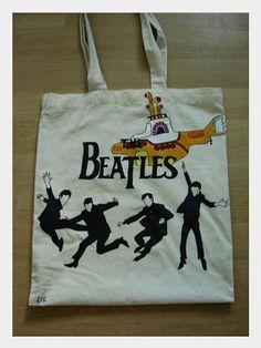 Ręcznie malowana torba z The Beatles.