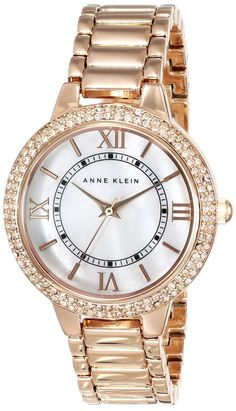 women's watches: Online store for Anne Klein Women's AK/1498MPRG Swarovski Crystal Accented Rose Gold-Tone Bracelet Watch