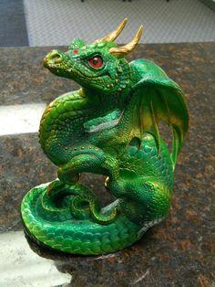Emerald Green Warrior Fantasy Art Dragon Medium -Pena 2004 Retired
