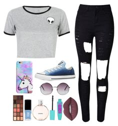 """"""" But Lately Colour Seems So Bright, The Stars Light Up The Night """" by feel-like-infinity ❤ liked on Polyvore featuring WithChic, Converse, Monki, Lime Crime, Chanel, JINsoon, Too Faced Cosmetics, howareyou, Alien and song"""