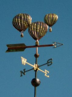 Hot Air Balloon Weather Vane, Triple Balloon by West Coast Weather Vanes.  This handcrafted triple hot air balloon  weathervane is custom made personalizing the balloon's design to reflect the customer's wishes. We can use, palladium, copper, brass or optional gold leaf to enhance the individual design.