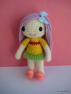 This is Summer girl amigurumi Crochet Pattern created by me. She is approximately 6.5 inch tall.